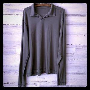 Lululemon Active Wear Long Sleeve Olive Polo Sz L